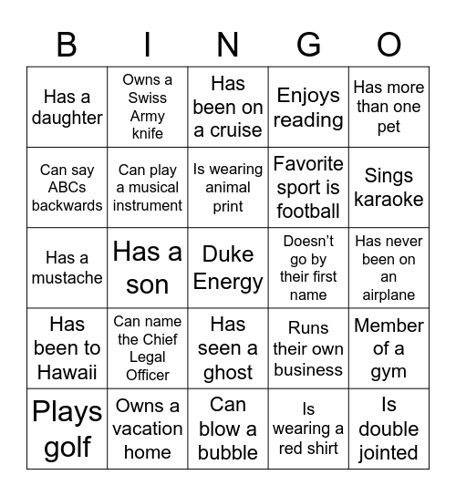 Get to Know You... Bingo Card