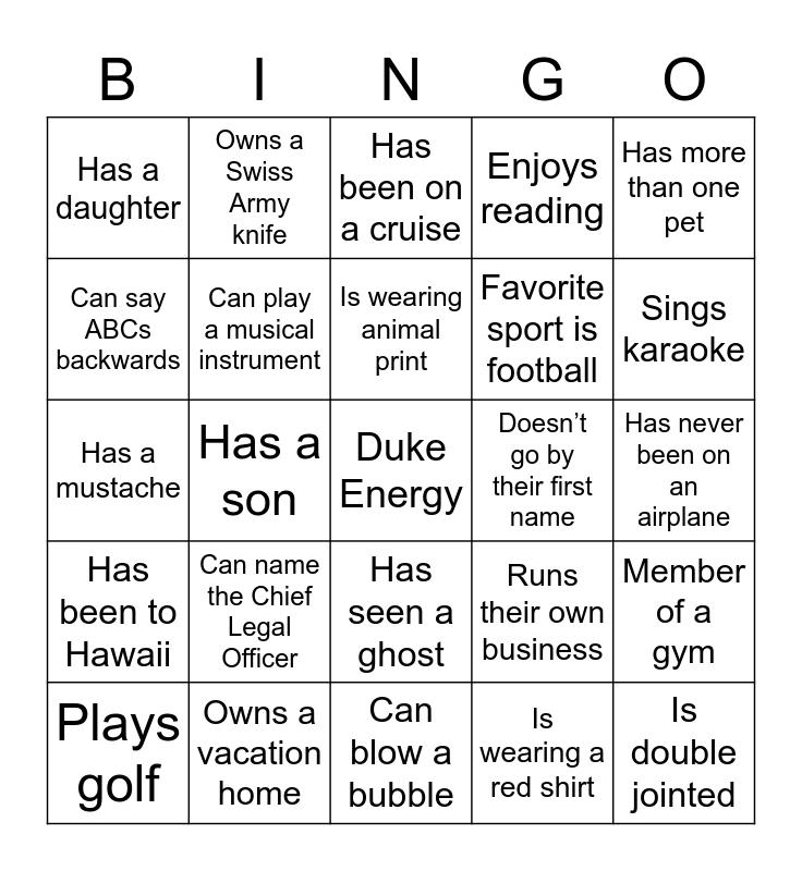 Get to Know You... Bingo Card