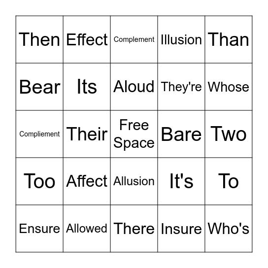 Homophone Bingo Card