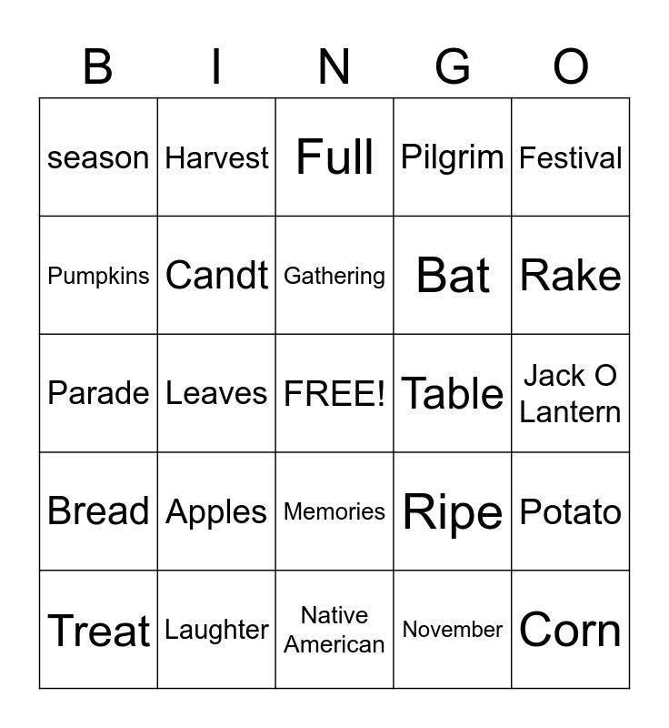 Selkirk Lodge Fall Bingo  Bingo Card