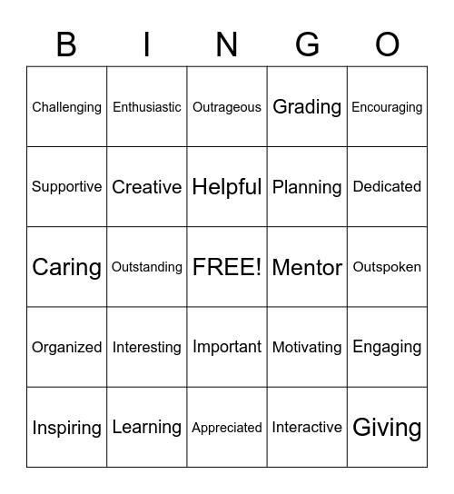 TEACHERS ARE... Bingo Card