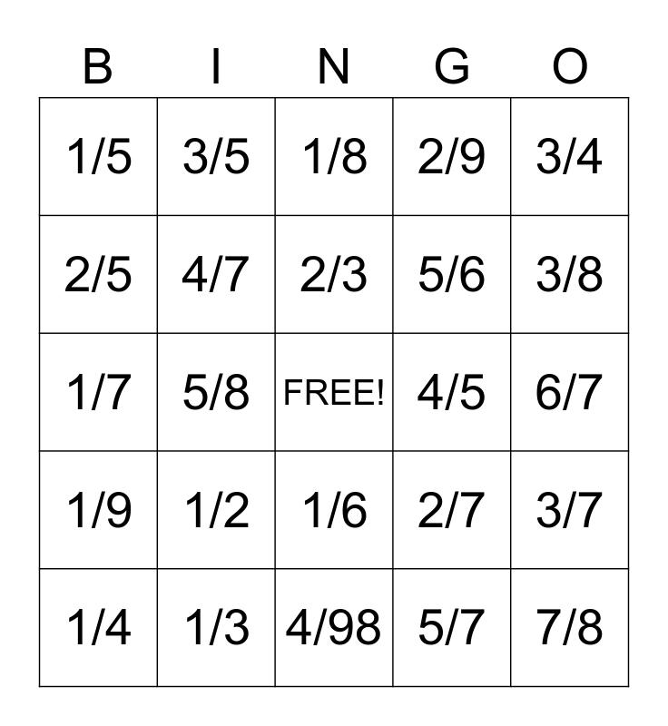 Fractions Bingo Card