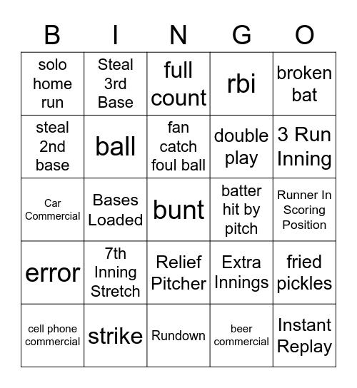 Baseball Bingo  Bingo Card