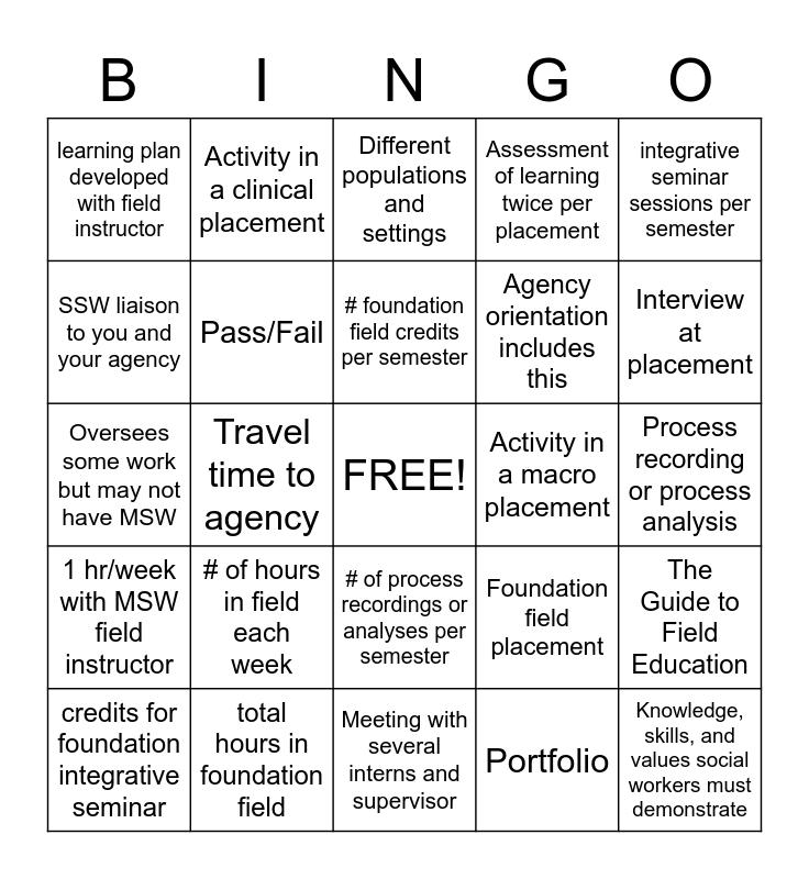 Field Education Bingo Card