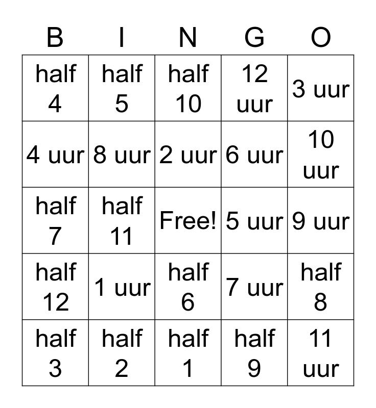 klokken kijken groep 4 Bingo Card
