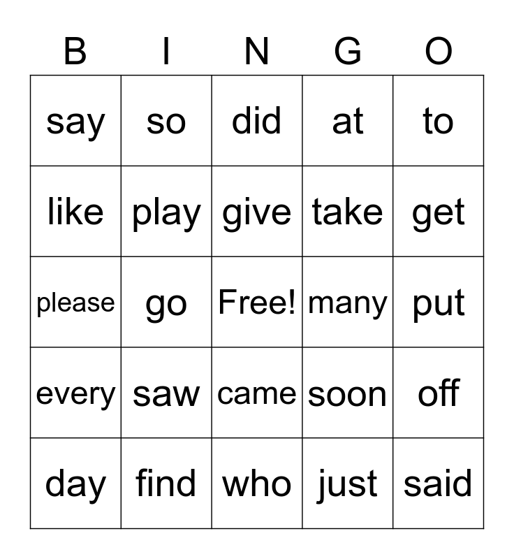 Sight Words Bingo Card