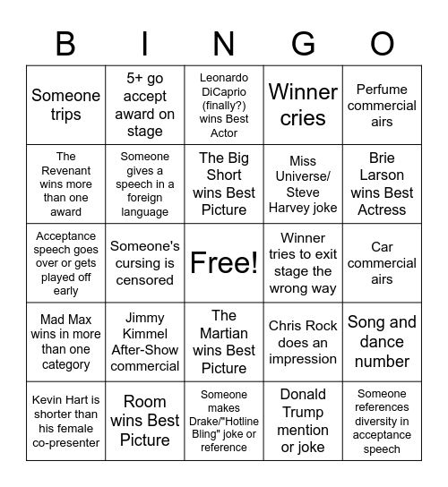 Oscars Bingo Card