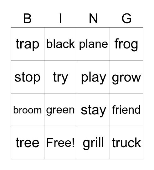 Word Grid Bingo Card