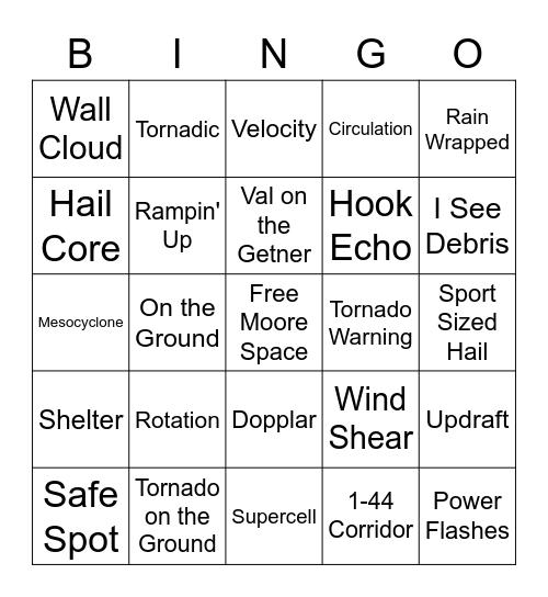 Okie Tornado Bingo Card