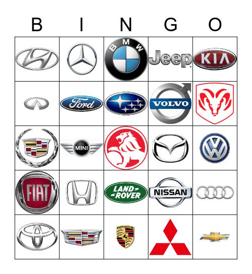 Car Makes/Models Bingo Card
