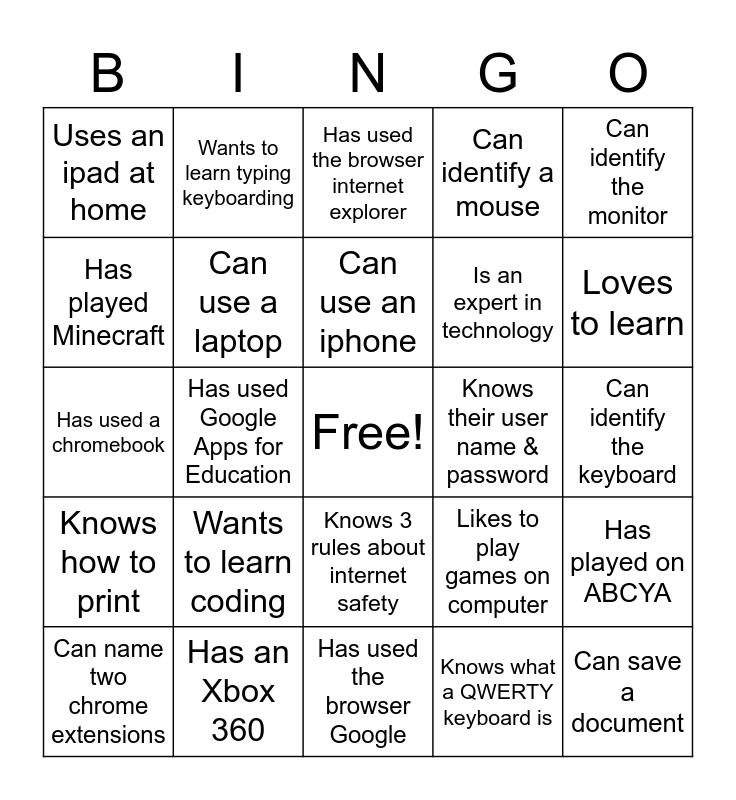 Information Technology Bingo Card