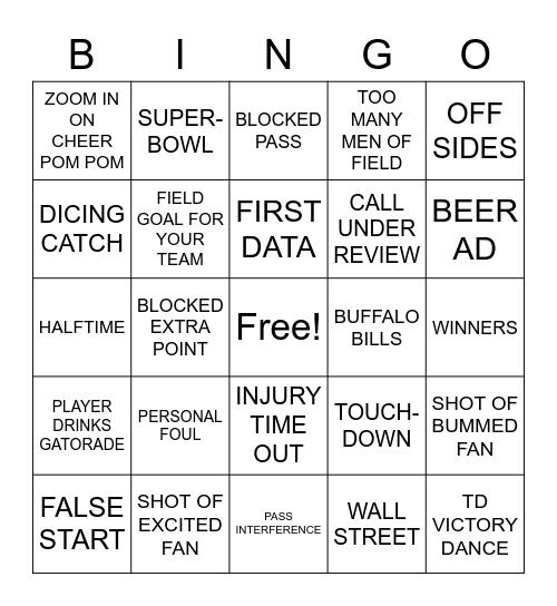 BUFFALO BILLS DAY BINGO!!! Bingo Card