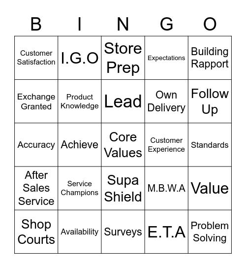 Customer Service Week 2016 Bingo Card