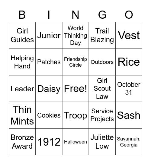 Juliette Low/Girl Scout Bingo Card