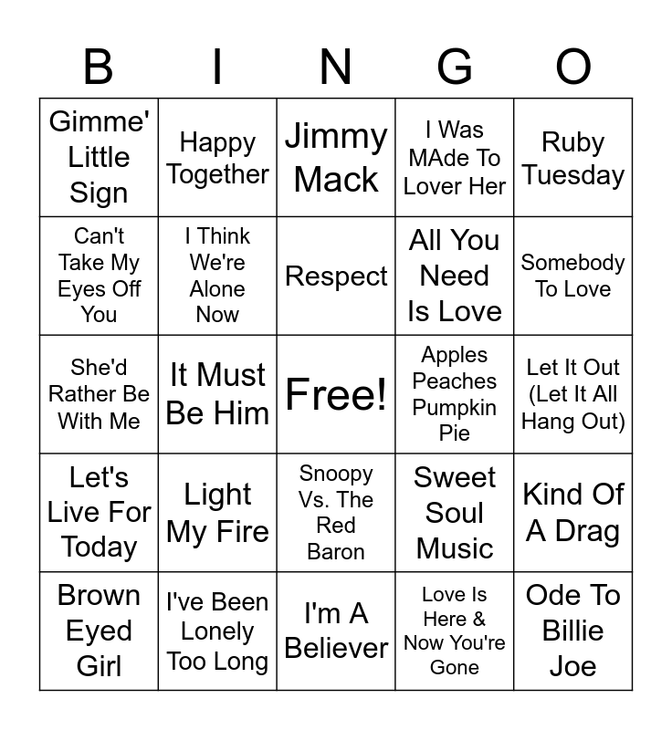 Late 60's Hits Bingo Card