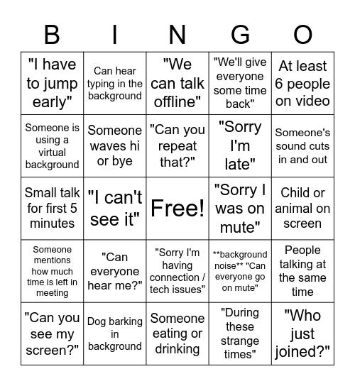 Team Meeting Bingo Card