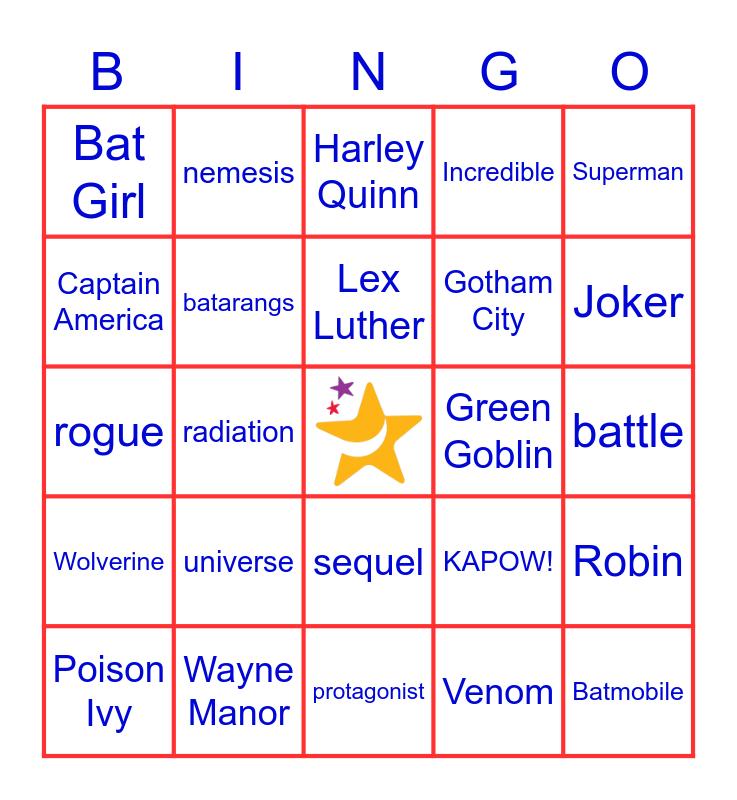 Superhero Bingo! Bingo Card
