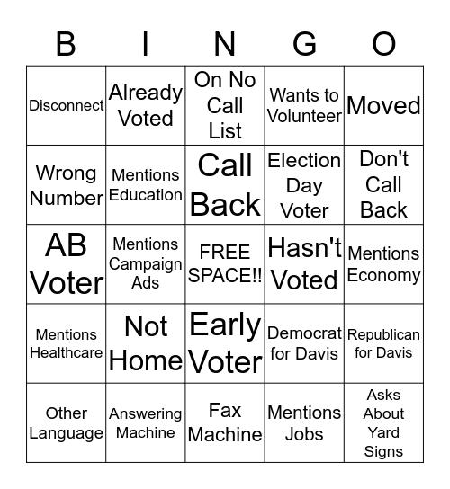 Davis/Docking GOTV Bingo Card
