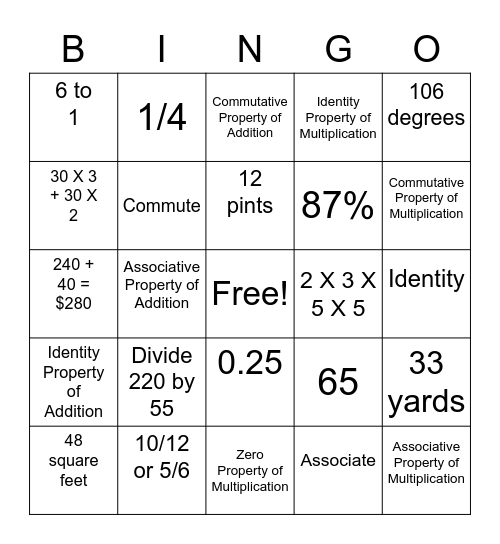 Math Lunch Bunch Bingo Card