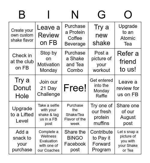Dover Nutrition Bingo Card