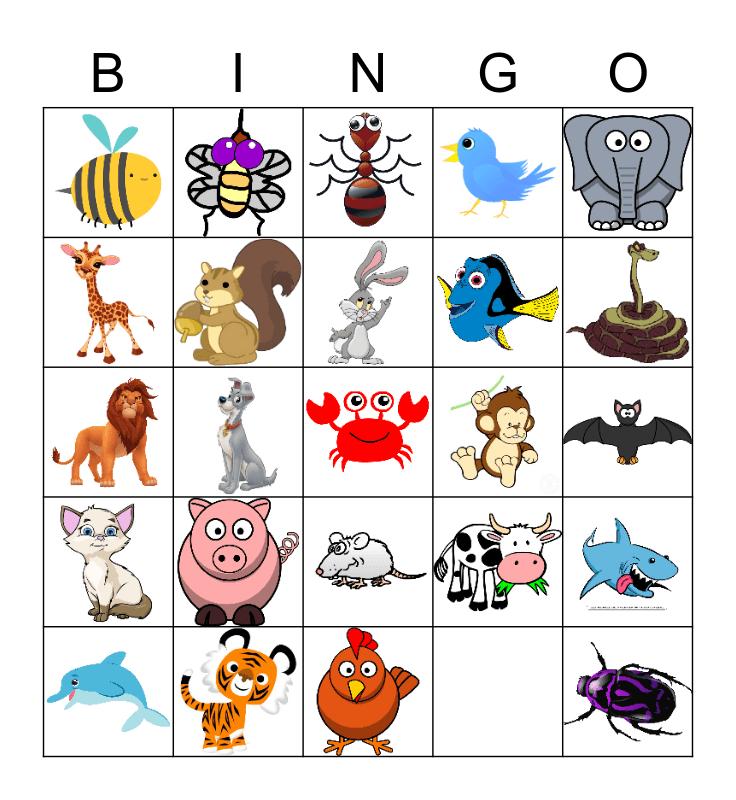 Animals-Pictures Bingo Card
