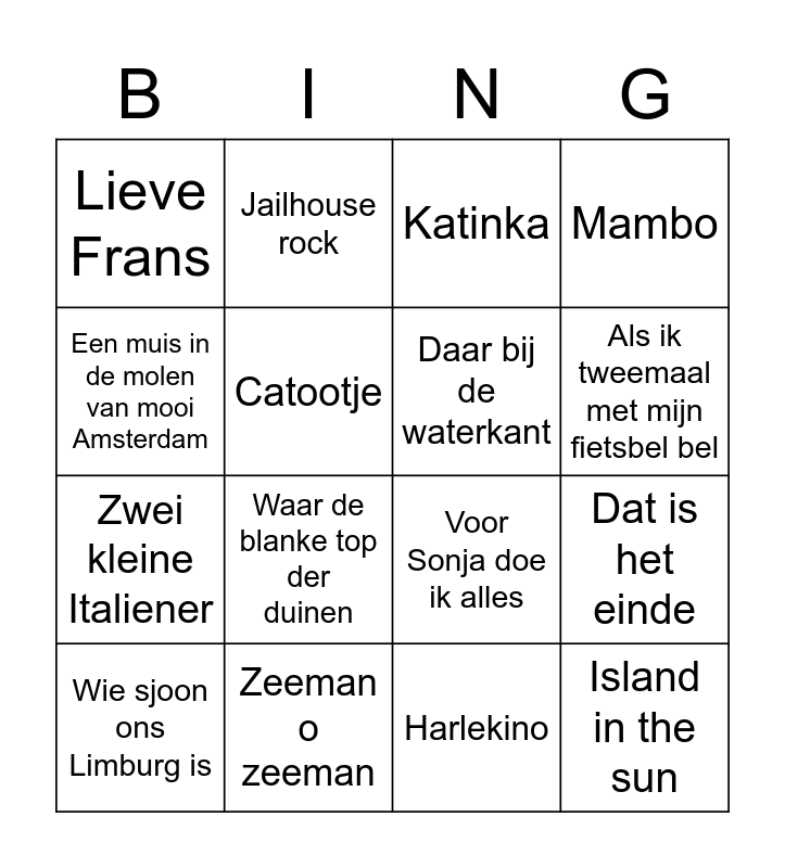 Dutch Words Bingo Card