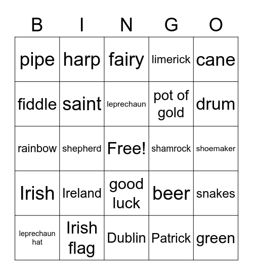 Irish Bingo Card