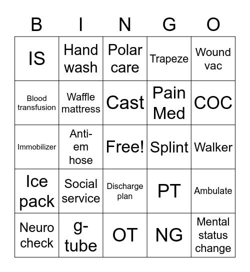 Med Surg Bingo Card