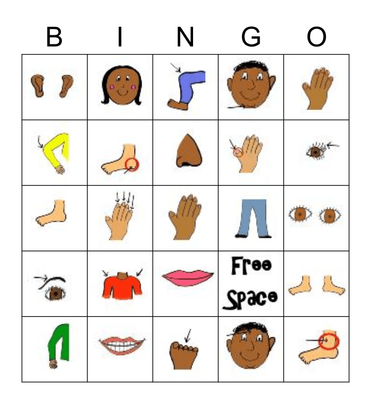 Parts of the Body Bingo Card
