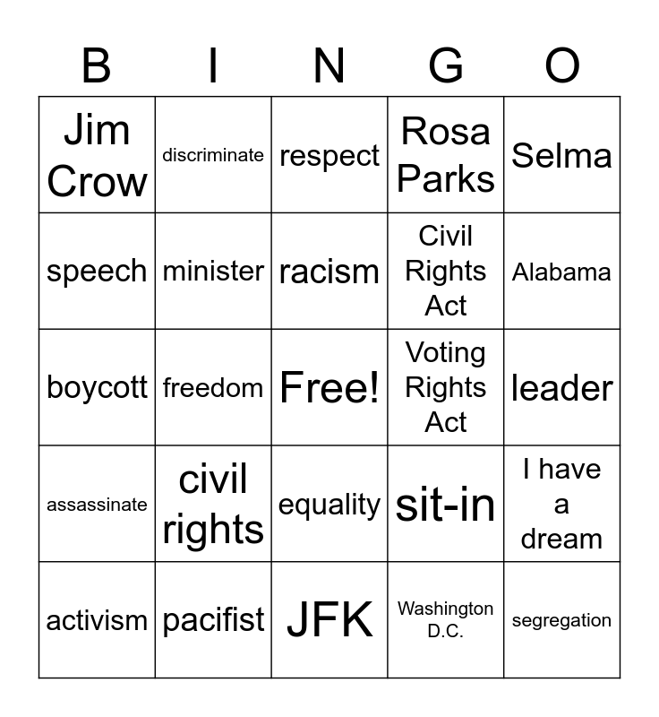 Martin Luther King Day Bingo Card