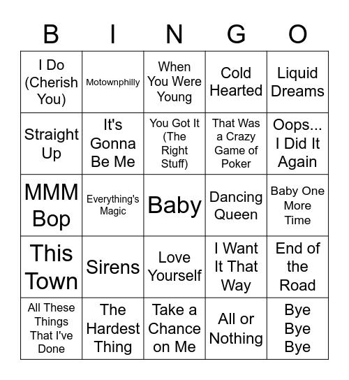 Emma Music Bingo Card