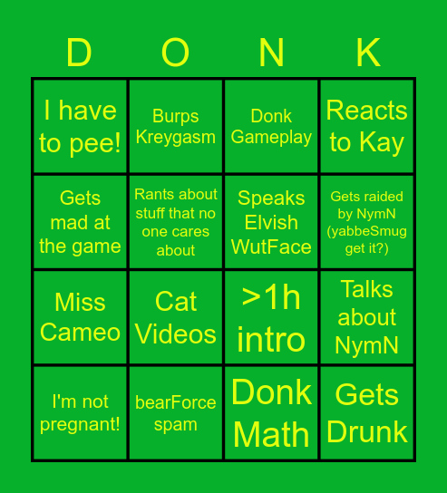 Yabbe Stream Bingo Card