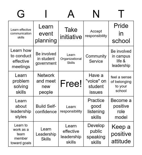Student Participation Bingo Card