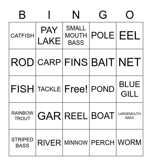 Fishing Bingo Card