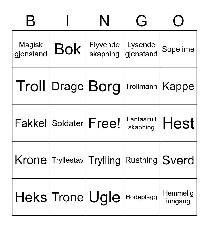 Norwegian Bingo Card