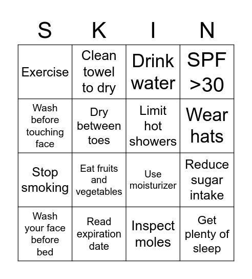 Skincare Bingo, Skincare  Bingo Card