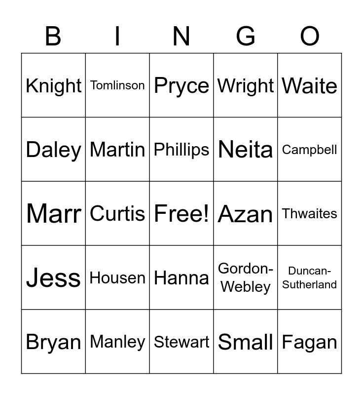 Last Names Bingo Card