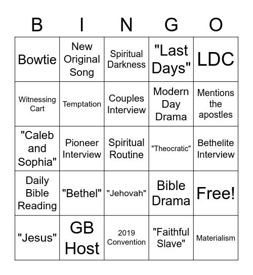 JW Broadcast Bingo Card
