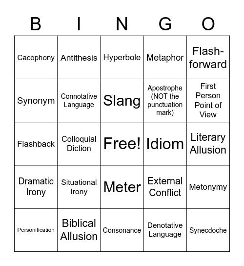 Literary Bingo Card