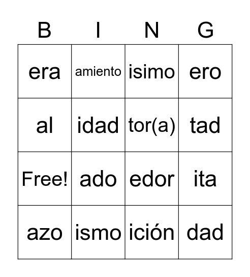 Spanish Suffix Bingo Card