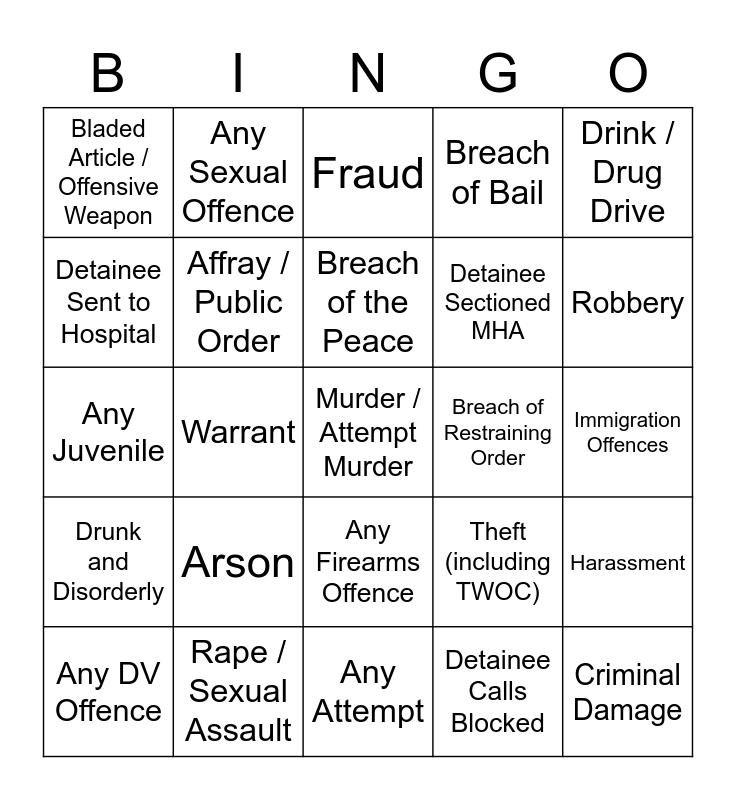 Custody Bingo Card