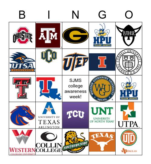 Colleges Bingo Card