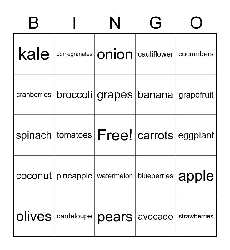 Fruit and Vegetable BINGO Card