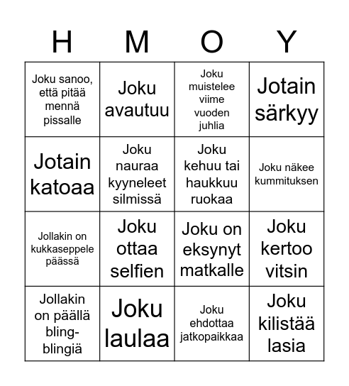 Ceremony Bingo Card