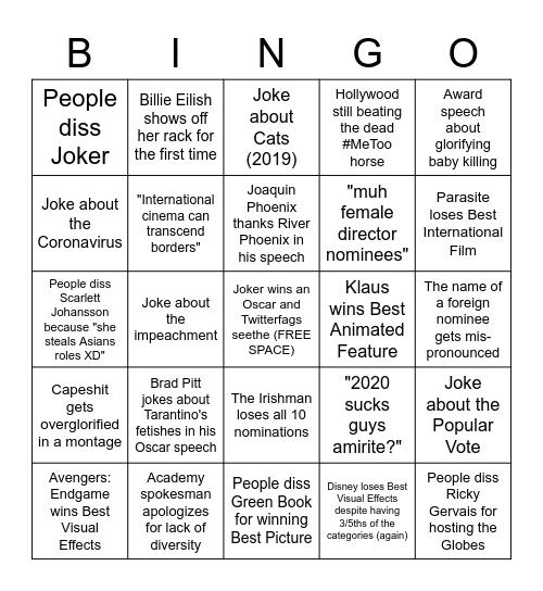/tv/'s Oscar Bingo 2020 Bingo Card