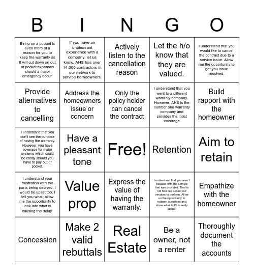 Retention Bingo Card