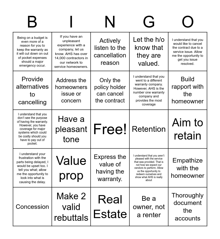 Retention Bingo Card