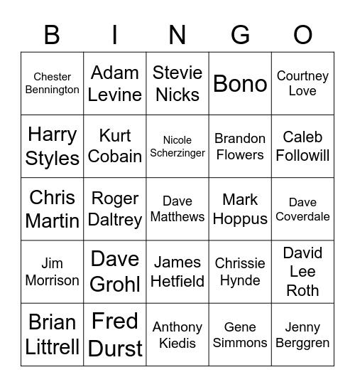 Leaders of the Pack, FRONT PEOPLE Bingo Card