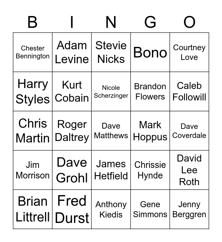 Leaders of the Pack, FRONT PEOPLE Bingo Card