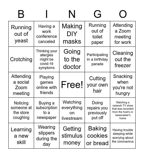 Coronavirus Experiences Bingo Card